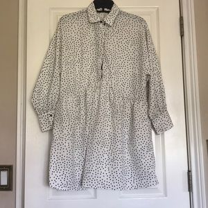 Zara polka dot dress tunic white and black Size XS